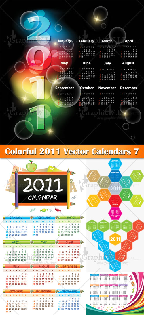 Colorful 2011 Vector Calendars 7 - Stock Vectors