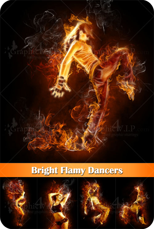Bright Flamy Dancers - Stock Photos
