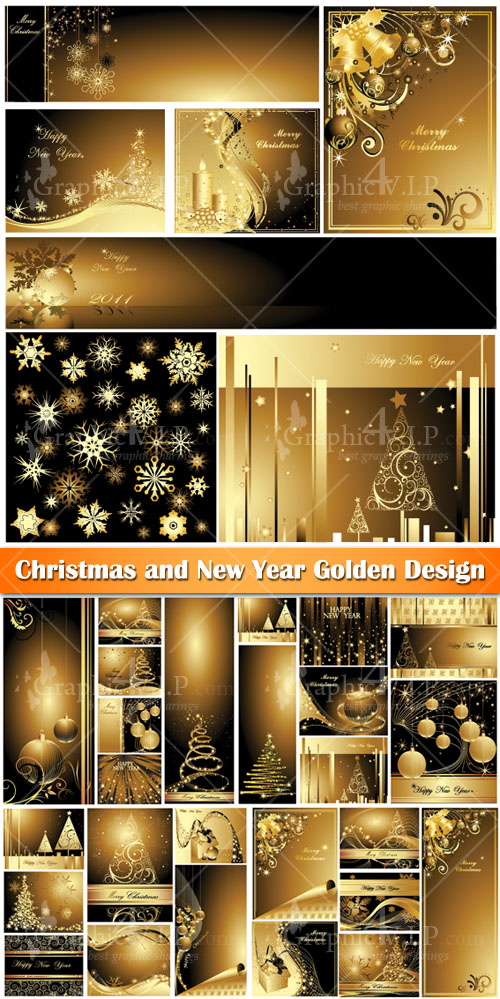Christmas and New Year Golden Design - Stock Vectors