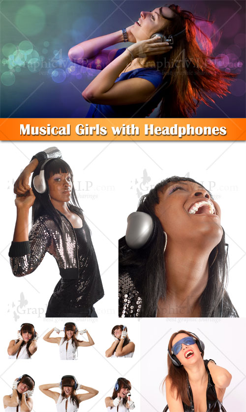Musical Girls with Headphones - Stock Photos