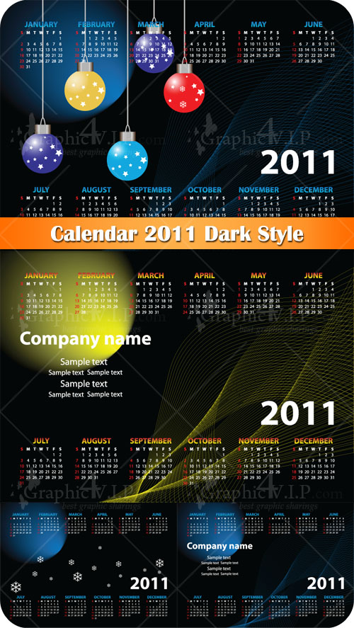 Calendar 2011 Dark Style - Stock Vectors