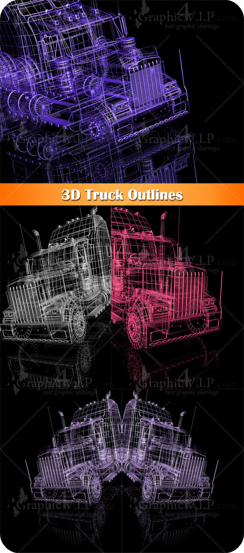 3D Truck Outlines - Stock Photos