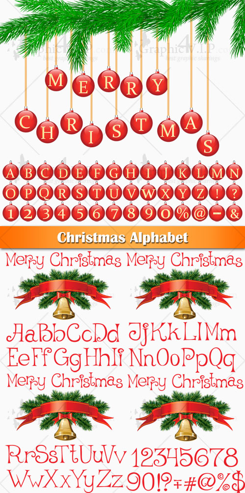 Christmas Alphabet - Stock Vector