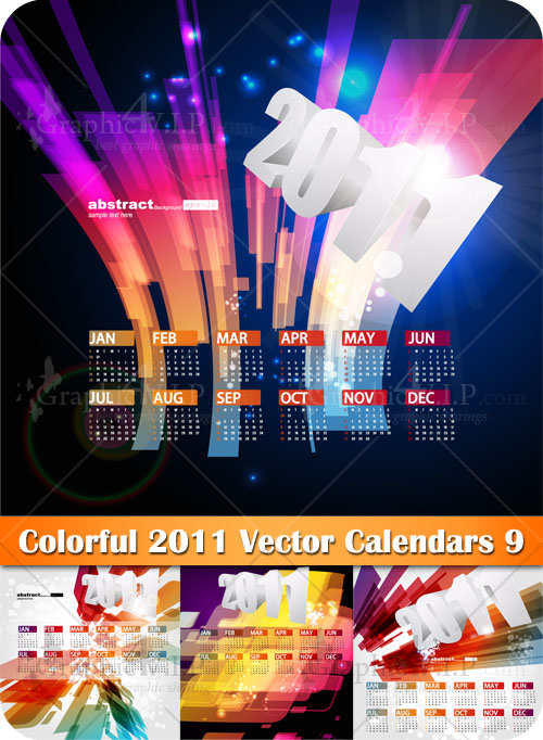 Colorful 2011 Vector Calendars 9 - Stock Vectors