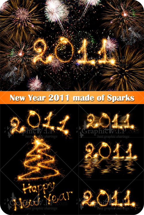 New Year 2011 made of Sparks - Stock Photos