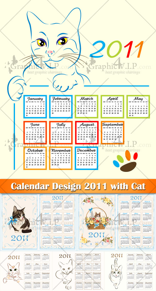 Calendar Design 2011 with Cat - Stock Vectors