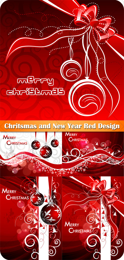 Chritsmas and New Year Red Design - Stock Vectors