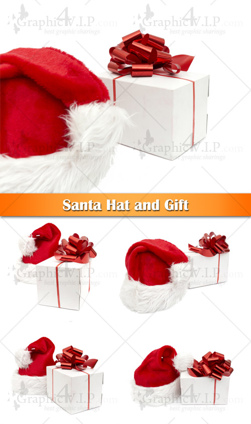 Santa Hat and Gift - Stock Photos