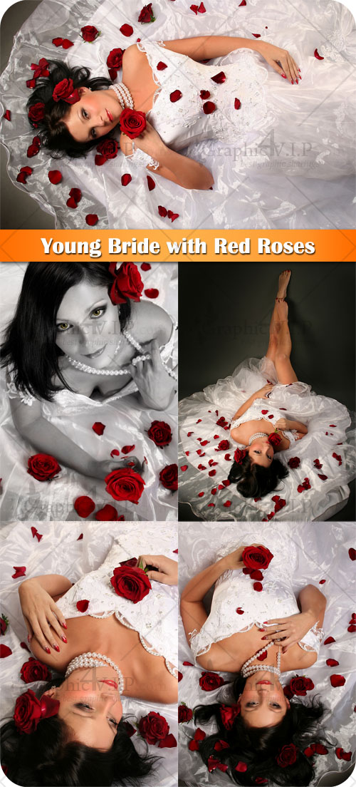 Young Bride with Red Roses - Stock Photos