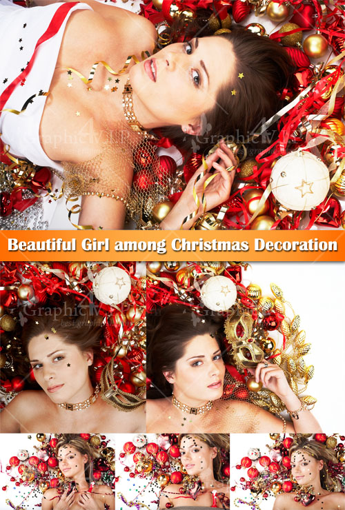 Beautiful Girl among Christmas Decoration - Stock Photos