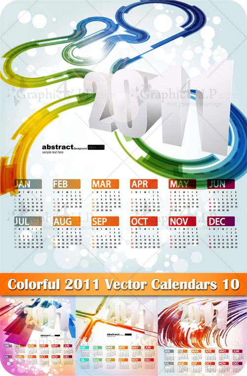 Colorful 2011 Vector Calendars 10 - Stock Vectors
