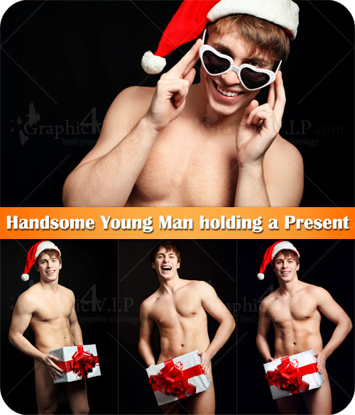 Handsome Young Man holding a Present - Stock Photos