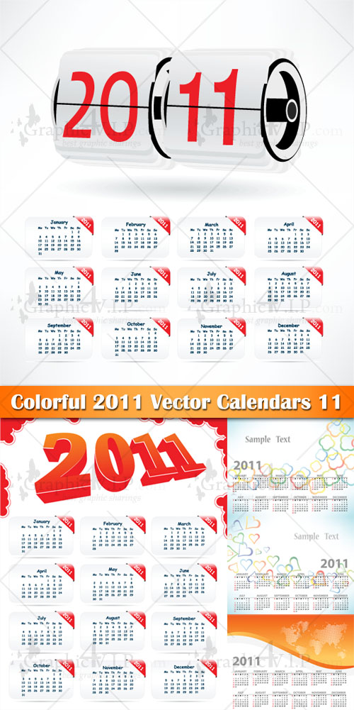 Colorful 2011 Vector Calendars 11 - Stock Vectors