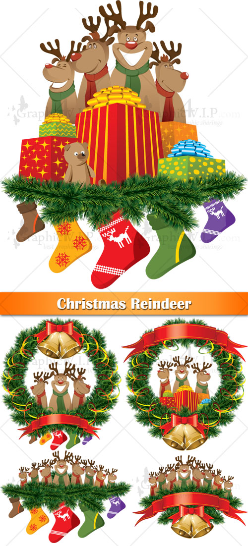 Christmas Reindeer - Stock Vectors
