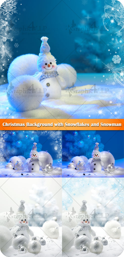 Christmas Background with Snowflakes and Snowman - Stock Photos