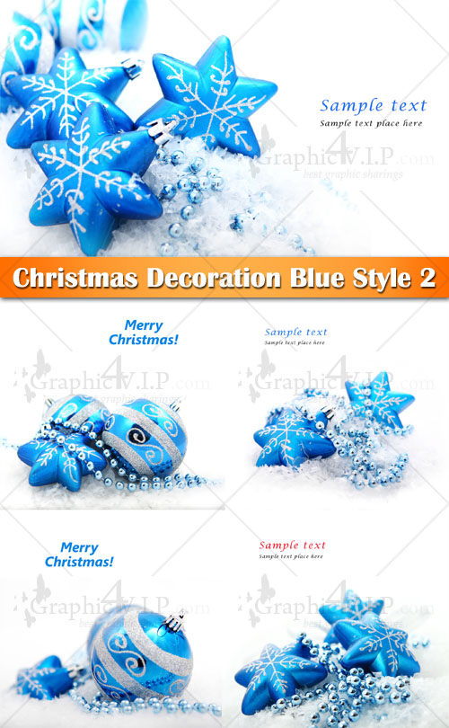 Christmas Decoration Blue Style 2 - Stock Photos