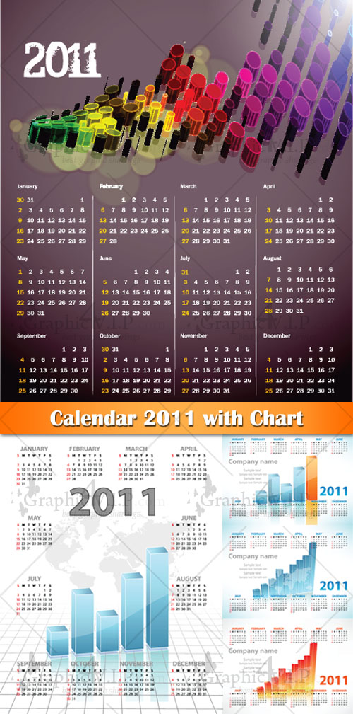 Calendar 2011 with Chart - Stock Vectors
