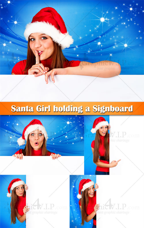Santa Girl holding a Signboard - Stock Photos