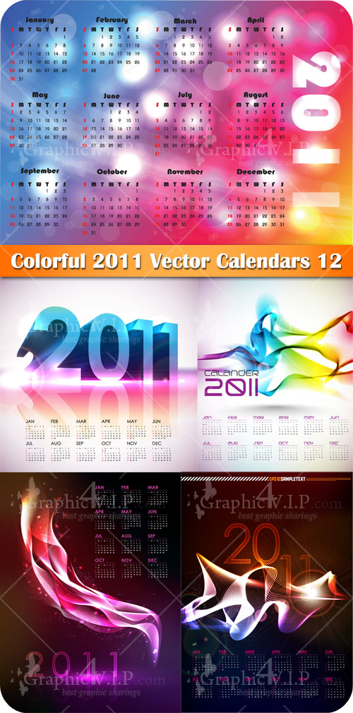 Colorful 2011 Vector Calendars 12 - Stock Vectors