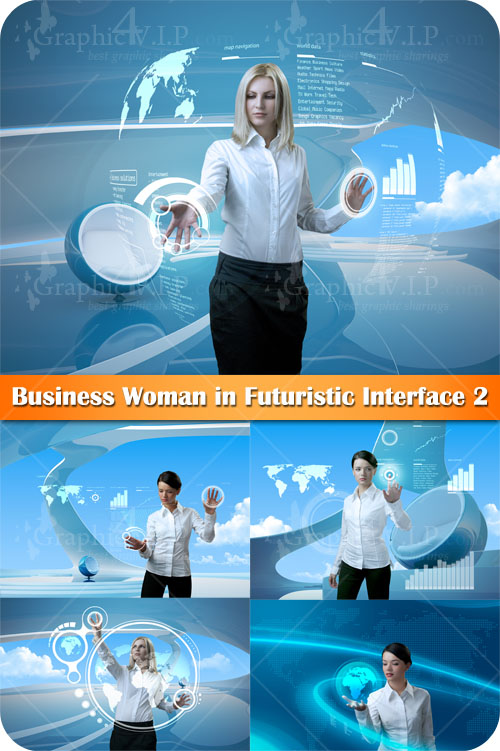 Business Woman in Futuristic Interface 2 - Stock Photos