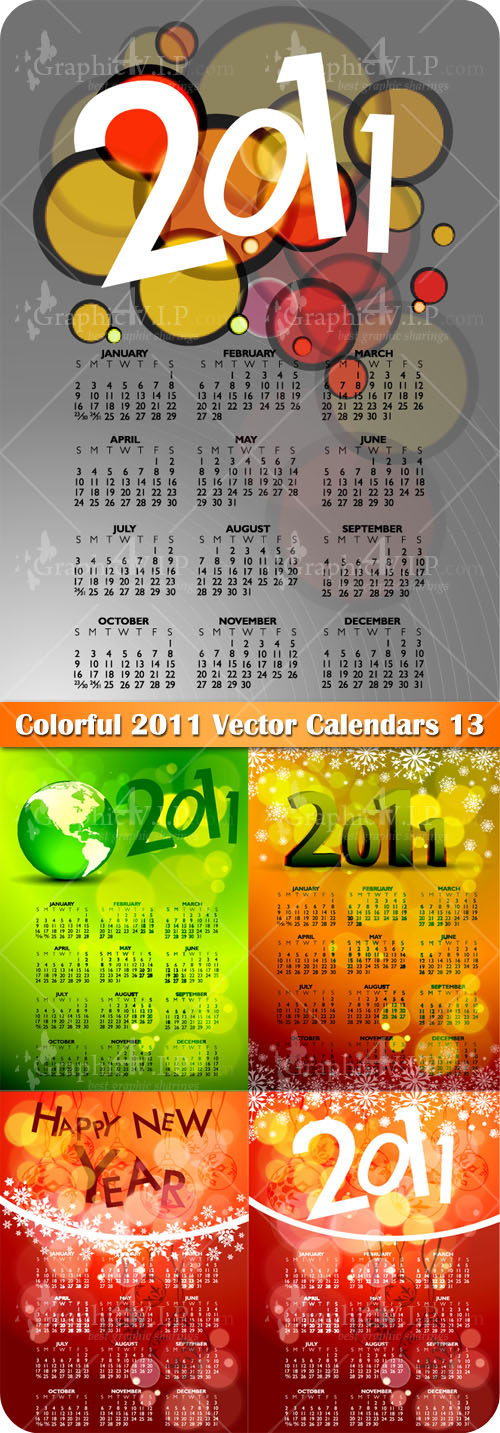 Colorful 2011 Vector Calendars 13 - Stock Vectors