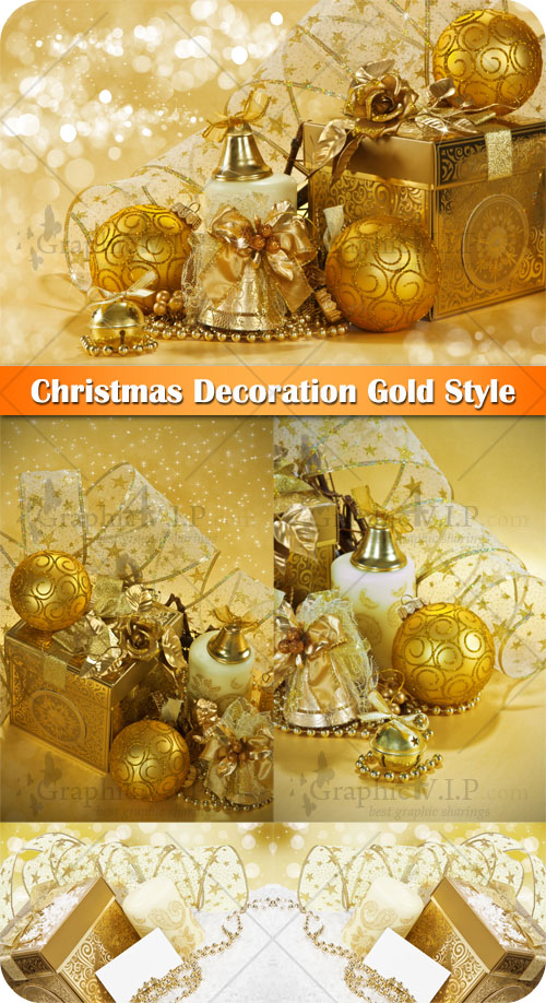 Christmas Decoration Gold Style - Stock Photos