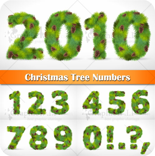 Christmas Tree Numbers - Stock Vectors