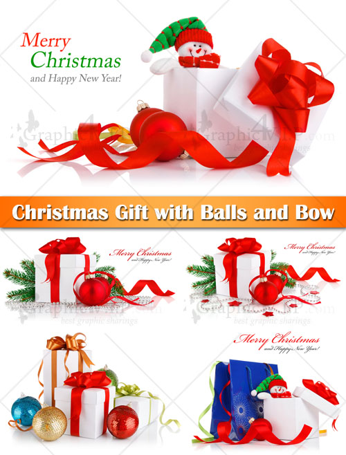 Christmas Gift with Balls and Bow - Stock Photos