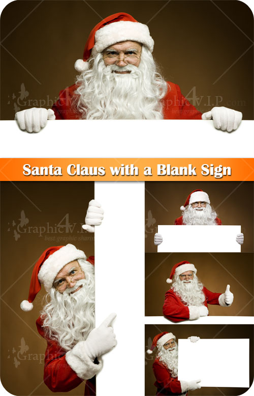 Santa Claus with a Blank Sign - Stock Photos
