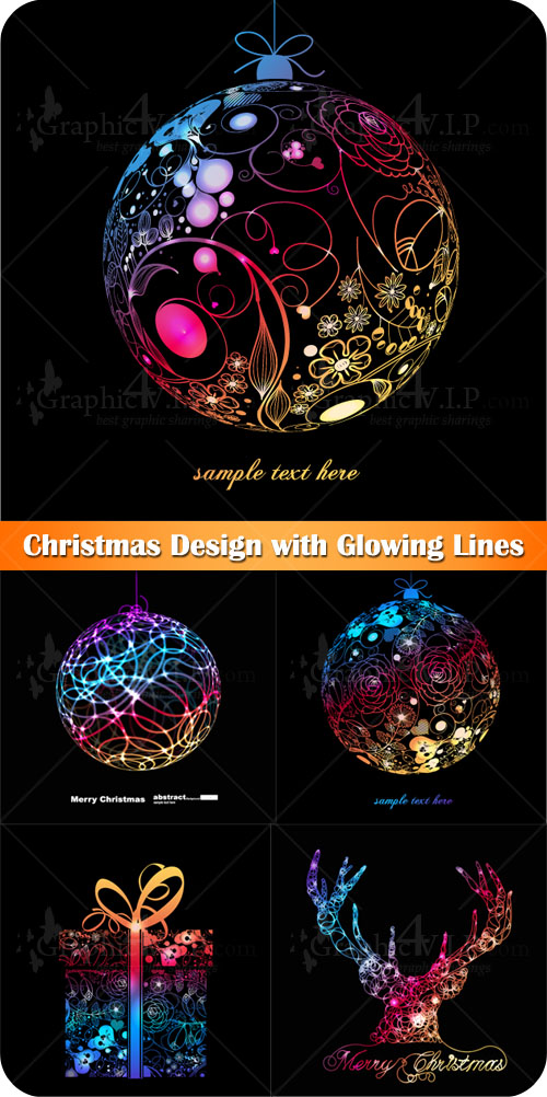 Christmas Design with Glowing Lines - Stock Vectors
