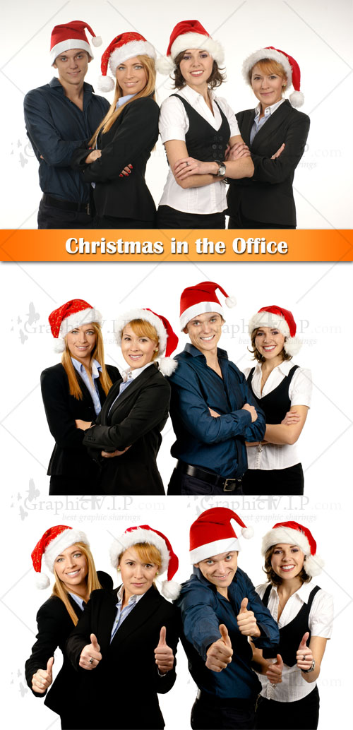 Christmas in the Office - Stock Photos
