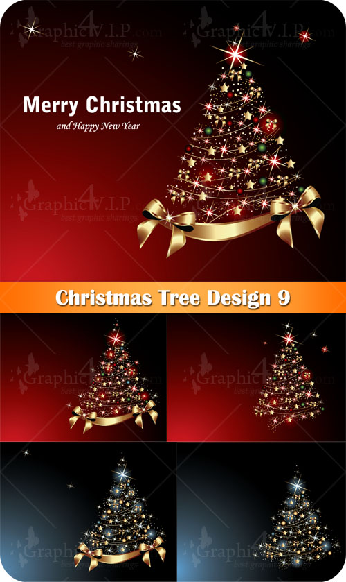 Christmas Tree Design 9 - Stock Vectors