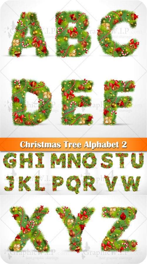 Christmas Tree Alphabet 2 - Stock Vectors