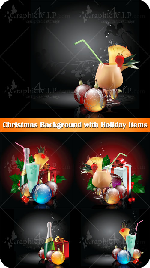 Christmas Background with Holiday Items - Stock Vectors