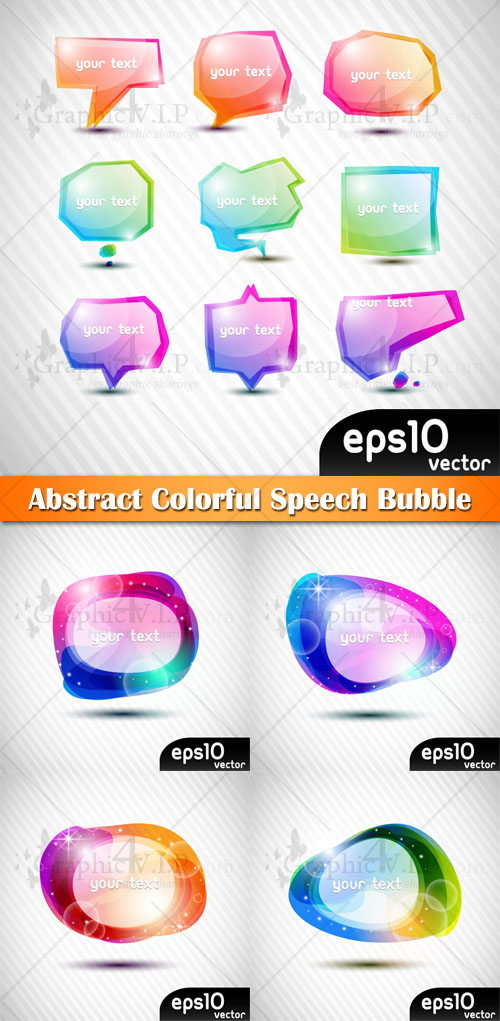 Abstract Colorful Speech Bubble - Stock Vectors