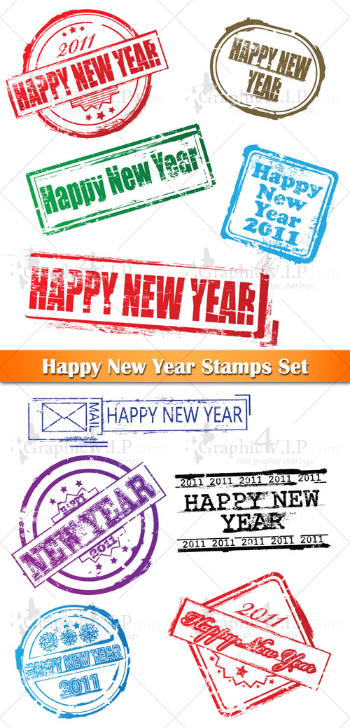Happy New Year Stamps Set - Stock Vectors