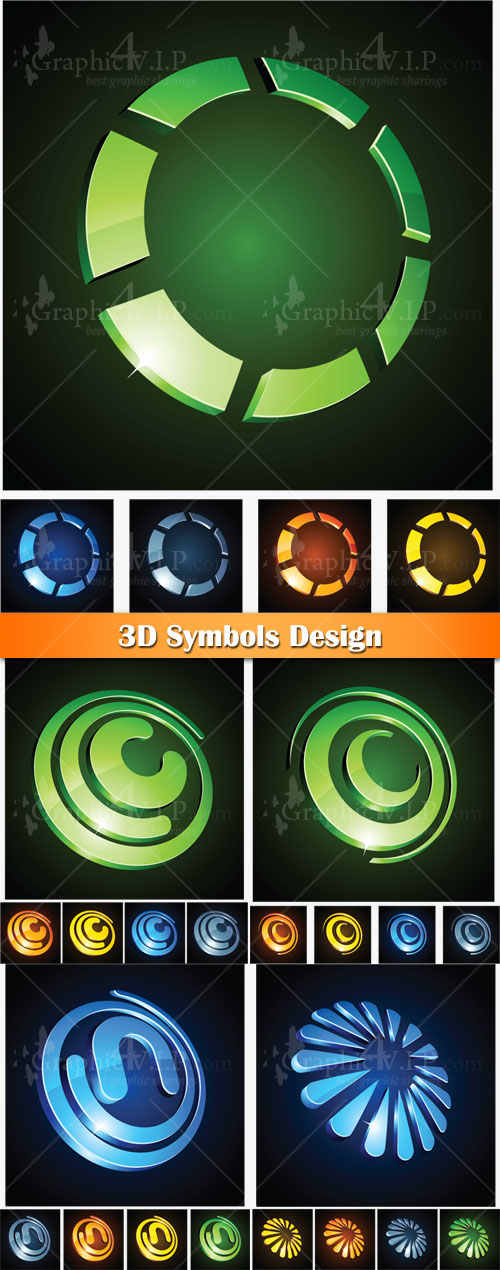 3D Symbols Design - Stock Vectors
