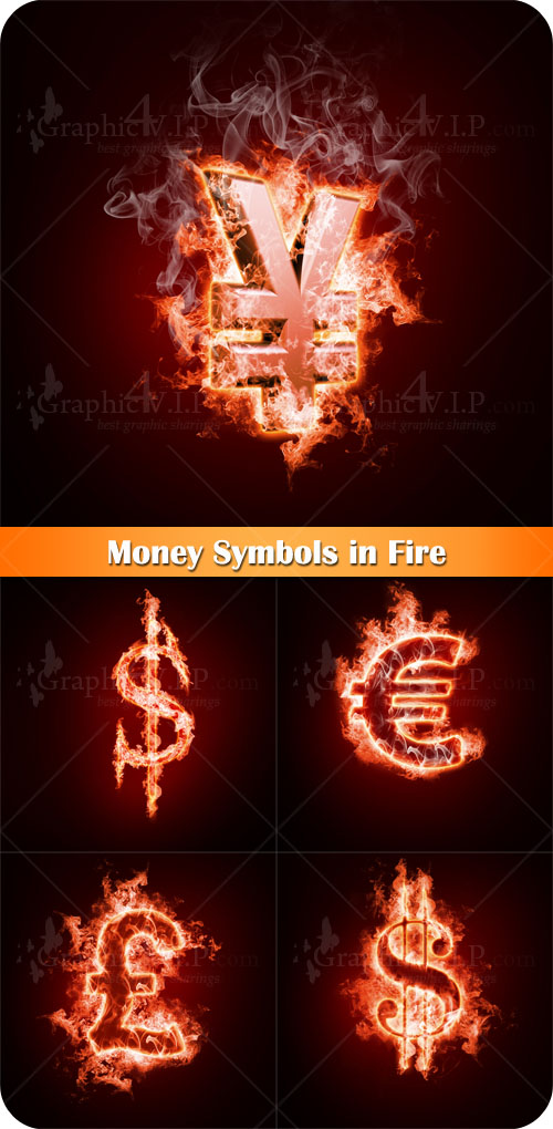 Money Symbols in Fire - Stock Photos