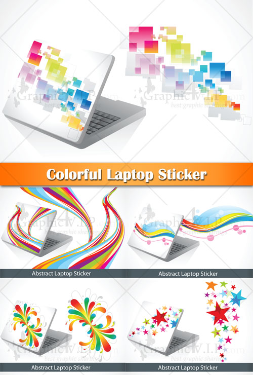 Colorful Laptop Sticker - Stock Vectors