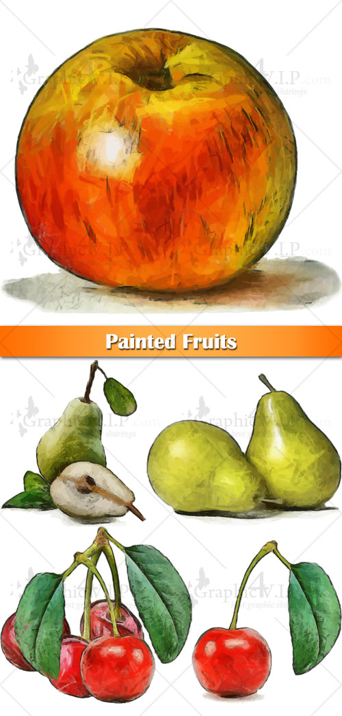 Painted Fruits - Stock Vectors