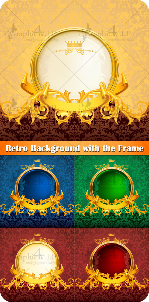 Retro Background with the Frame - Stock Vectors