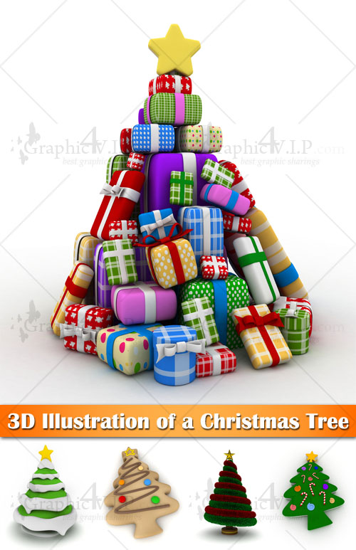 3D Illustration of a Christmas Tree - Stock Photos