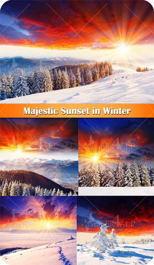Majestic Sunset in Winter - Stock Photos