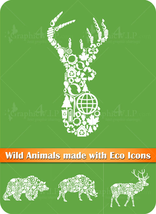 Wild Animals made with Eco Icons - Stock Vectors