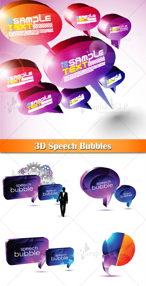 3D Speech Bubbles - Stock Vectors