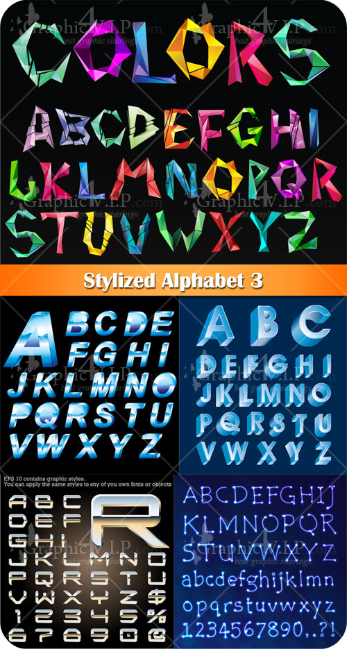 Stylized Alphabet 3 - Stock Vectors