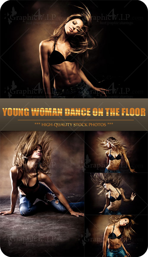 Young Woman Dance on the Floor - Stock Photos
