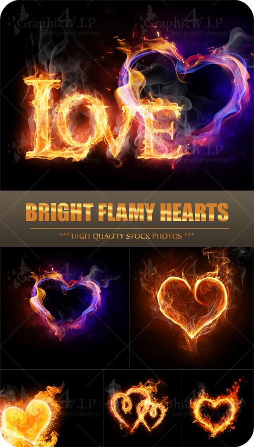 Bright Flamy Hearts - Stock Photos