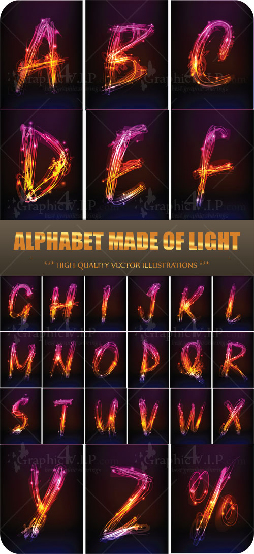 Alphabet Made of Light - Stock Vectors