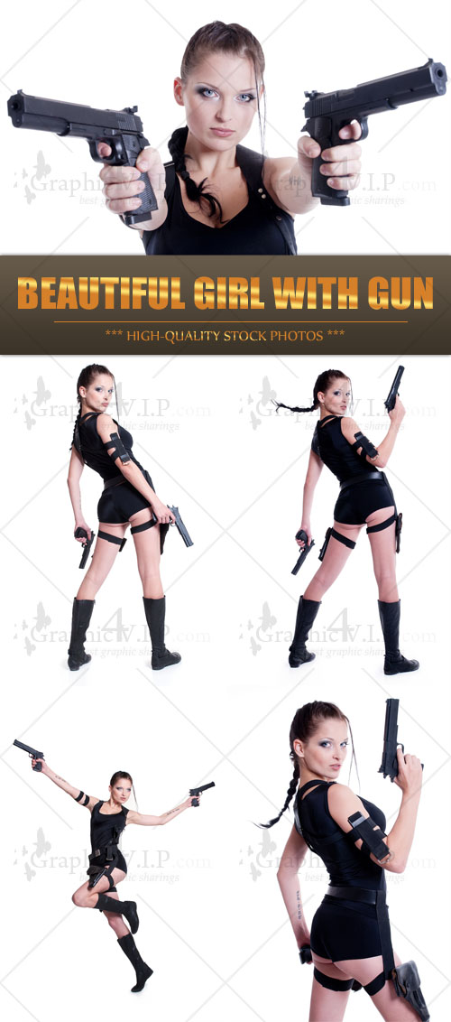 Beautiful Girl with Gun - Stock Photos
